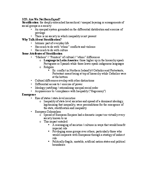 ANTH 0780 - Class Notes - Week 3