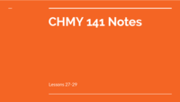 CHMY 141 - Class Notes - Week 8