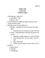 ANTHRO 2 - Class Notes - Week 1