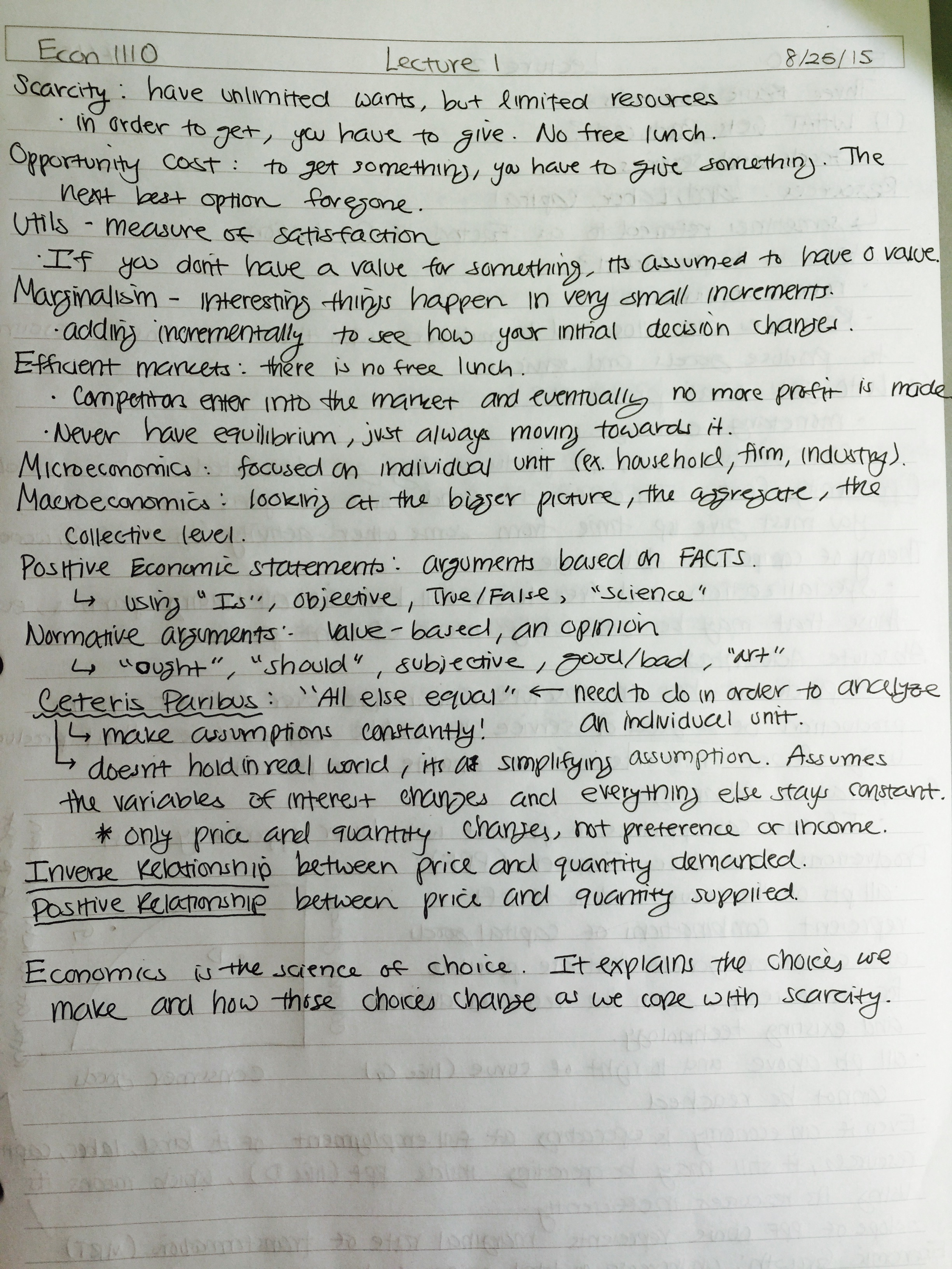 ECON 1110 - Class Notes - Week 1