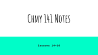 CHMY 141 - Class Notes - Week 4