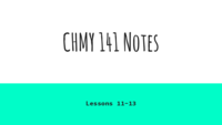 CHMY 141 - Class Notes - Week 3