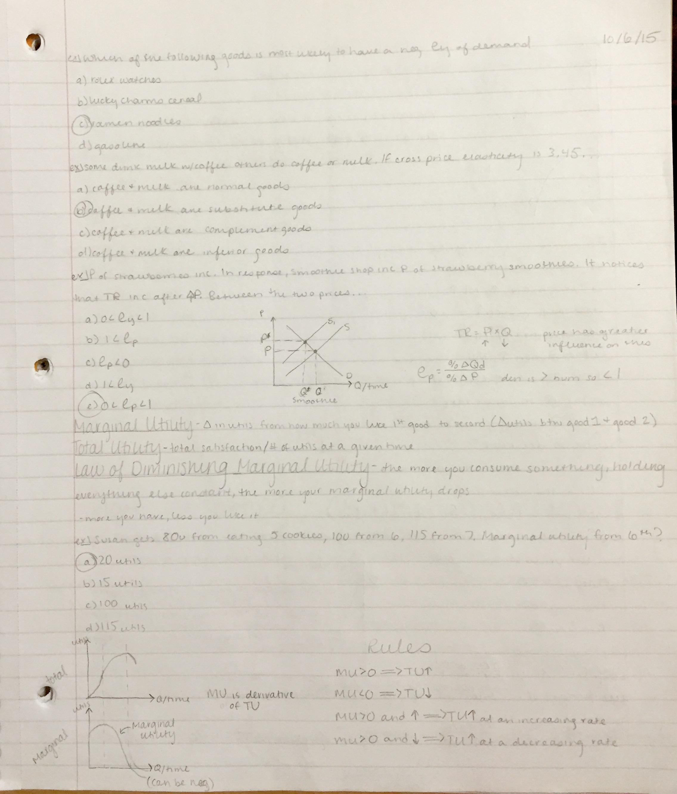ECON 1010 - Class Notes - Week 8