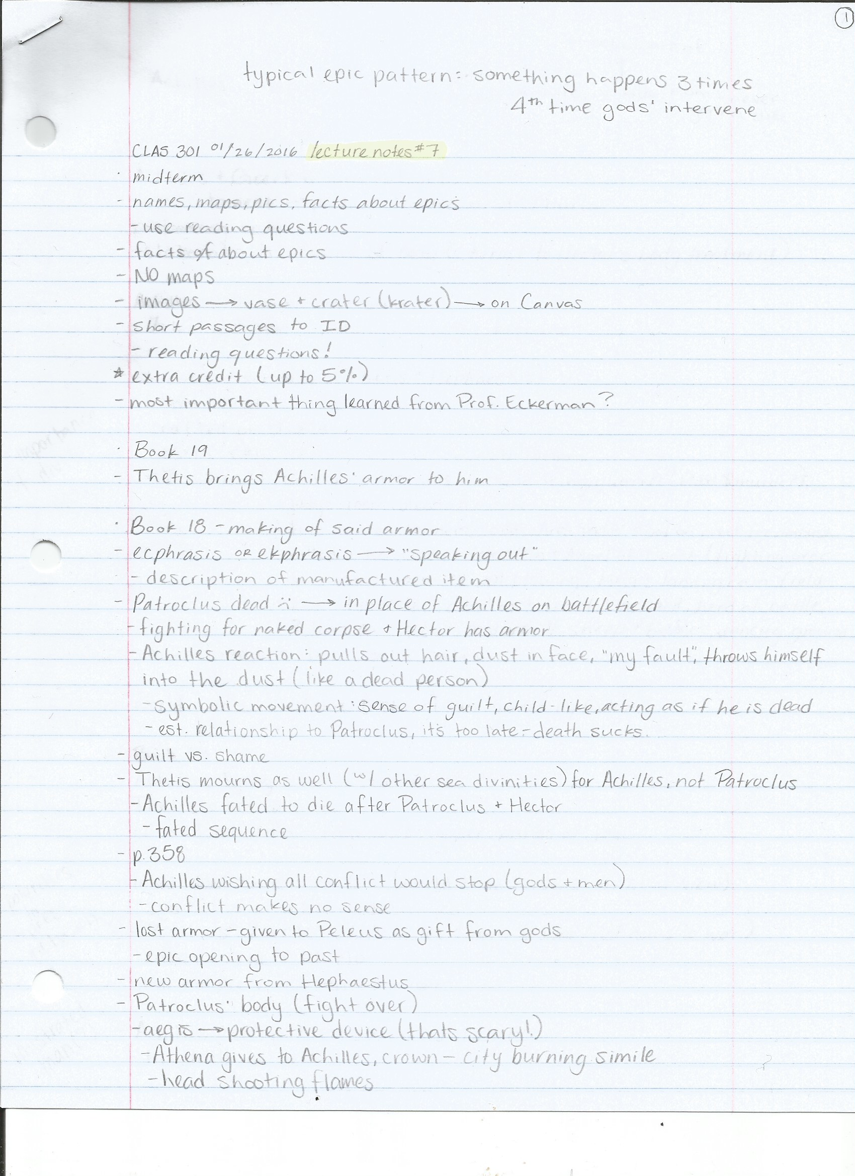 UO - CLAS 301 - Class Notes
