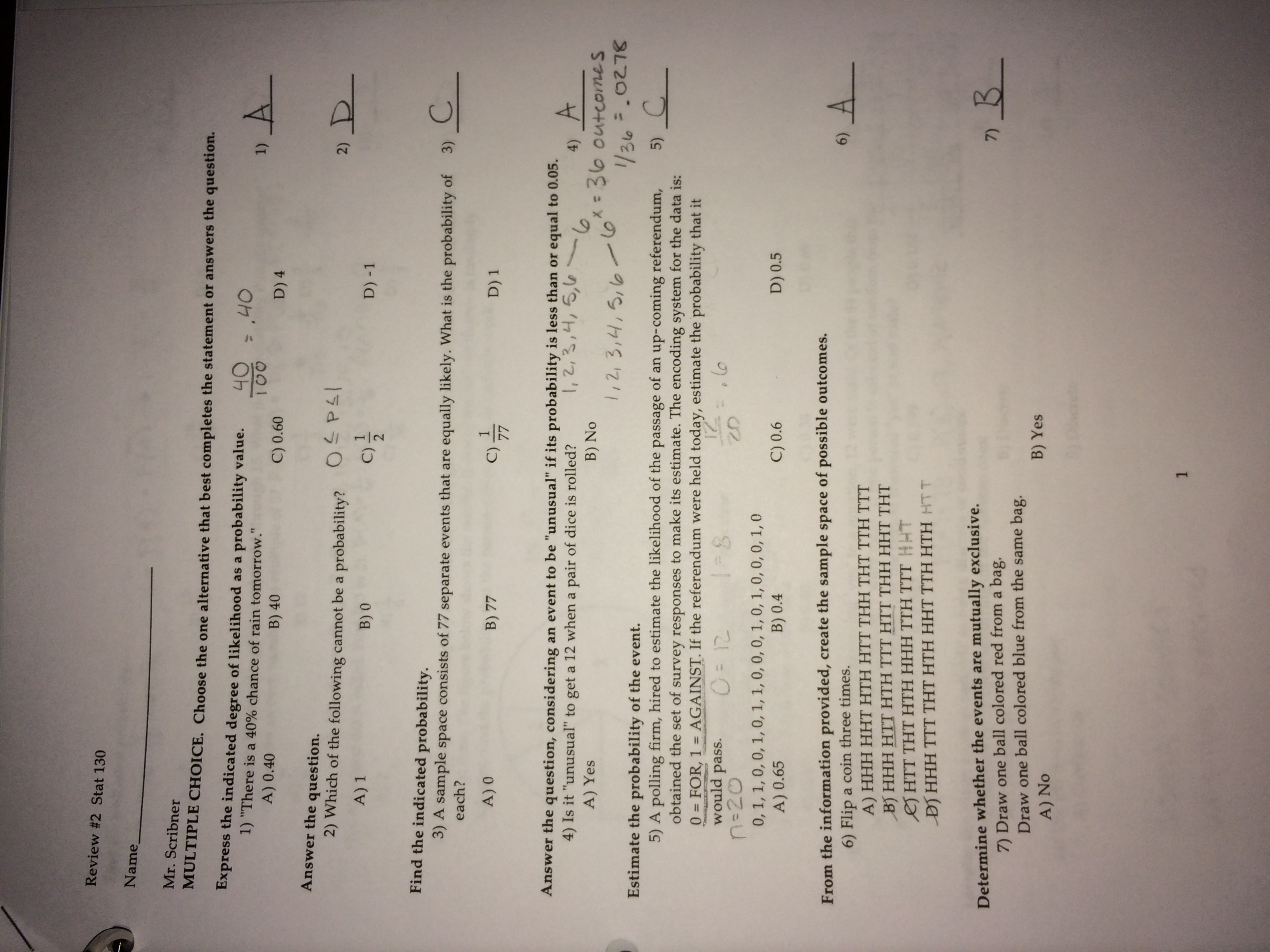 STAT 130 - Study Guide