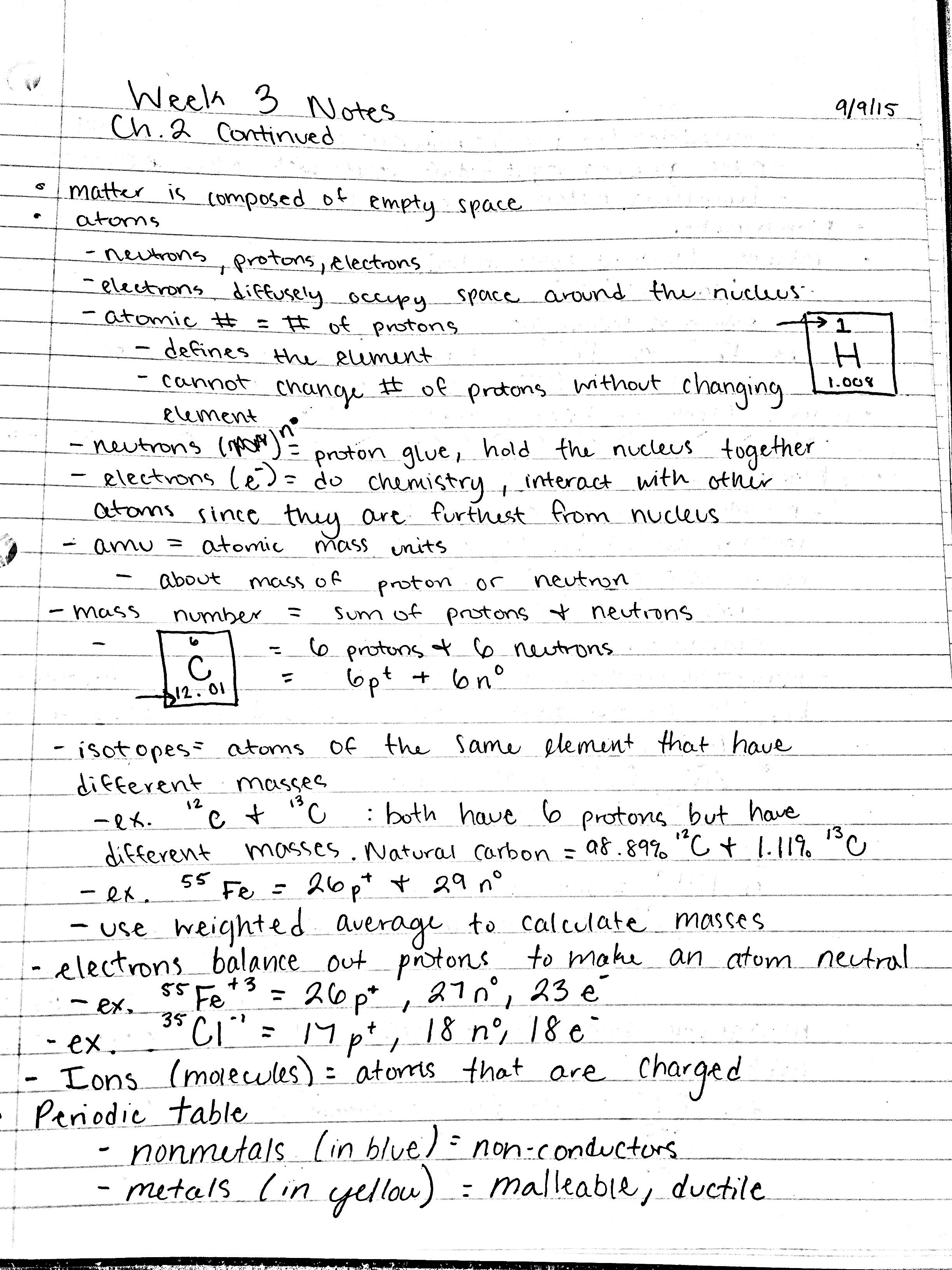 CHM 1045 - Class Notes - Week 3