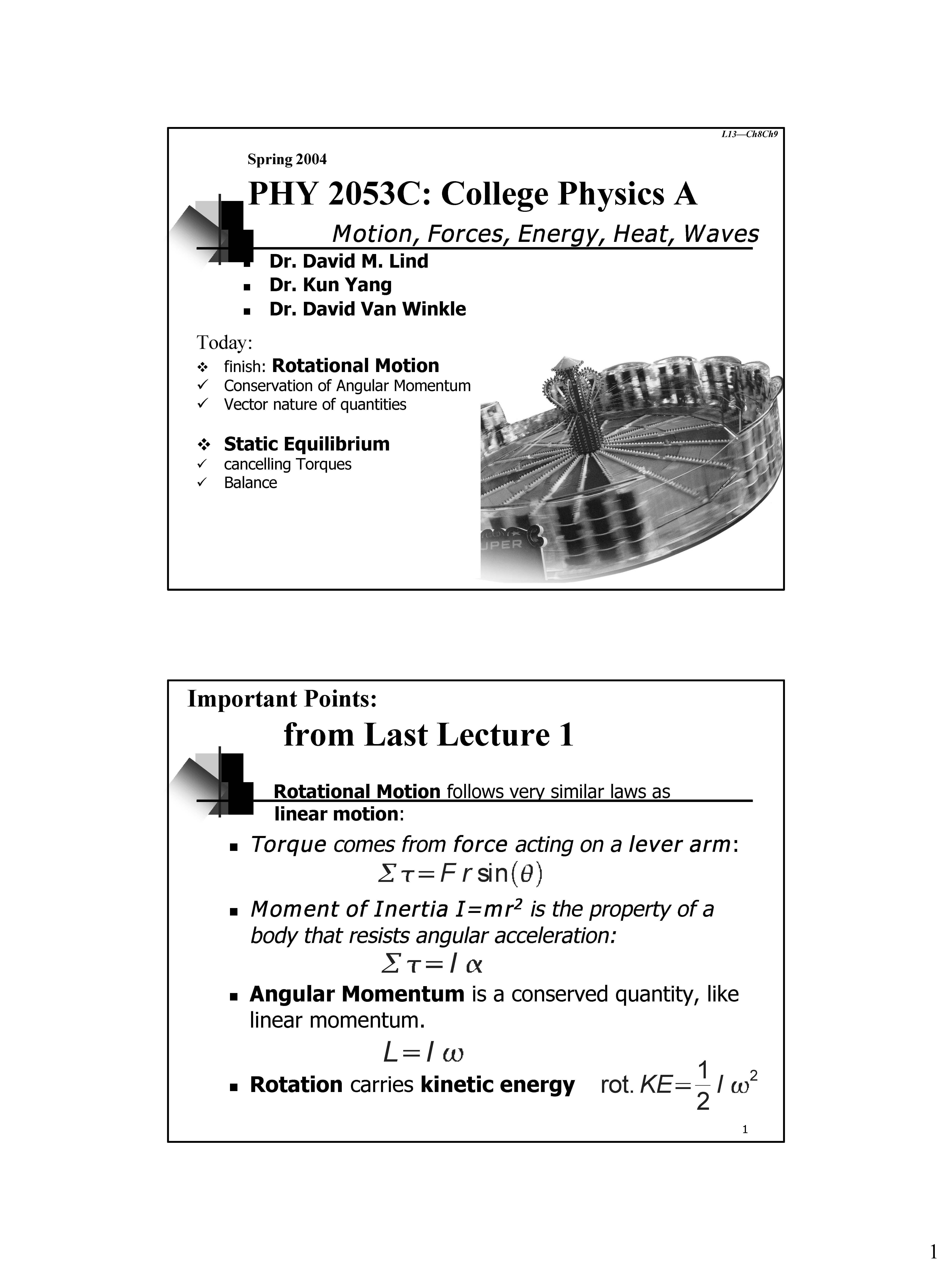 PHY - Class Notes - Week 1