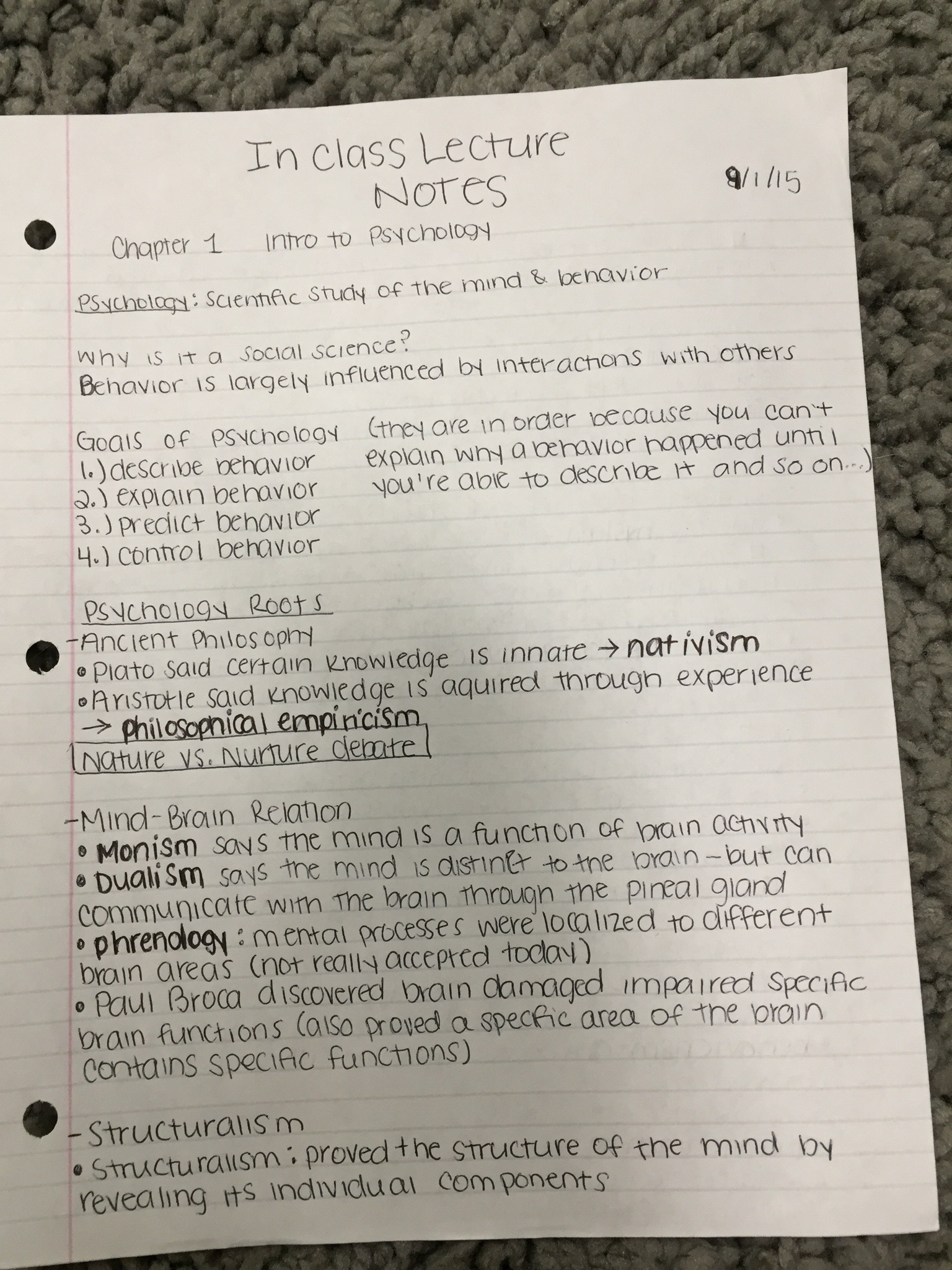 PSYCH 1000 - Class Notes - Week 1