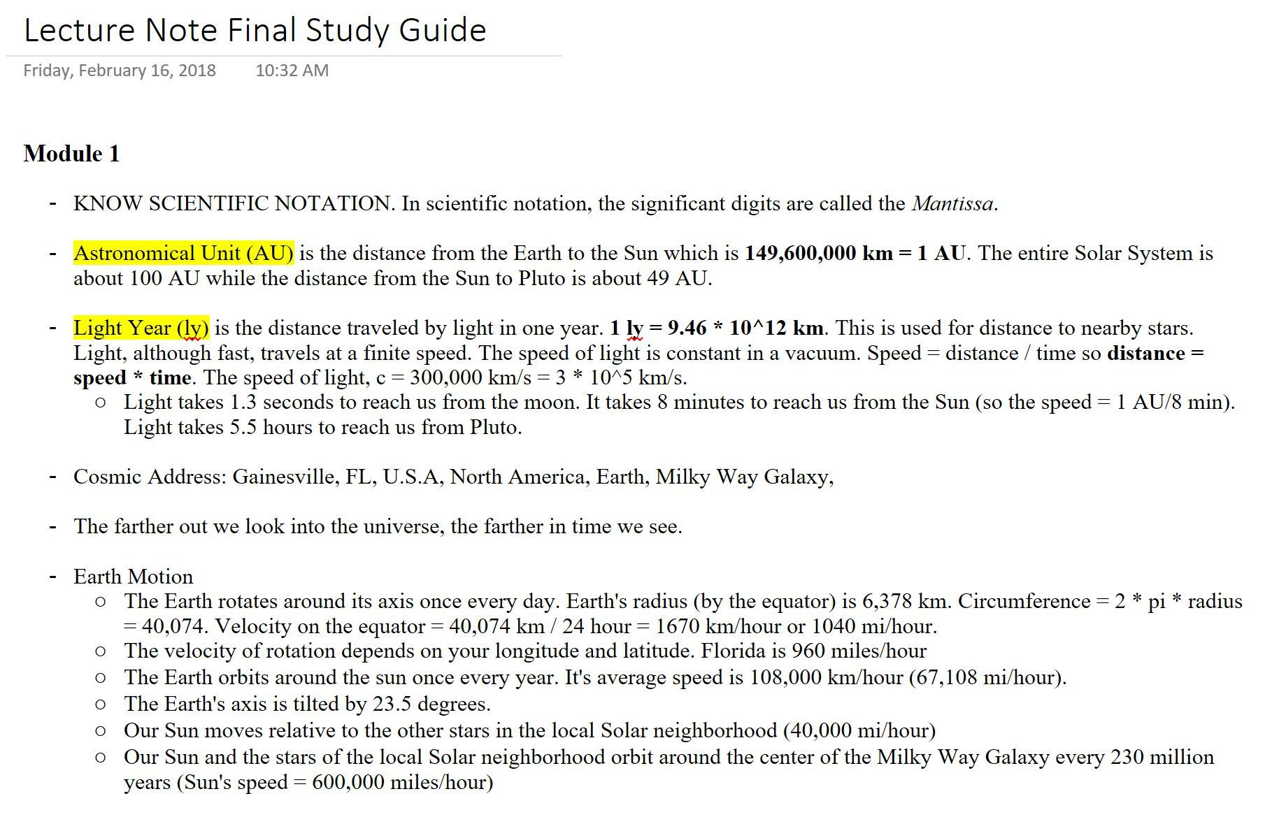 UF - AST 1002 - Study Guide - Final