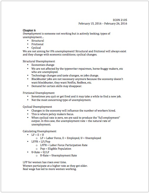 ECON 2105 - Class Notes - Week 4