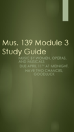 MUSIC 139 - Study Guide