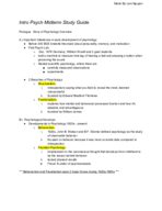 PSYC 1010 - Study Guide