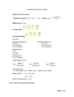PHYS 1301 - Study Guide