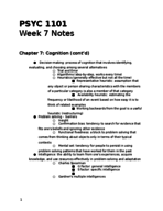 PSYC 1101 - Class Notes - Week 7