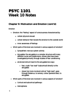 PSYC 1101 - Class Notes - Week 10