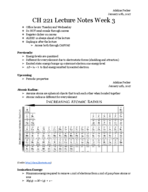 CHEM 222 - Class Notes - Week 1