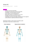 Exercise Science 253 - Class Notes - Week 1