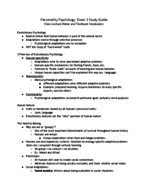 Tulane - PSYC 3010 - Study Guide - Midterm