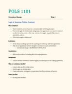 POLS 1101 - Class Notes - Week 1