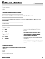 BSC 1011 - Study Guide