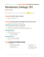Humboldt - Zoology 110 - Class Notes - Week 1