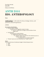 ANTH 2414 - Class Notes - Week 2