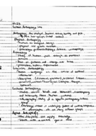 ANTH 1020 - Class Notes - Week 1