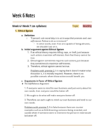 UTEP - PHIL 2306 - Class Notes - Week 6