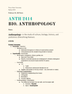 ANTH 2414 - Class Notes - Week 7