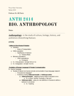 ANTH 2414 - Class Notes - Week 9