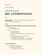 ANTH 2414 - Class Notes - Week 11