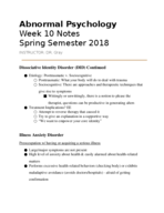 UW - PSYCHOLOGY 130 - Class Notes - Week 10