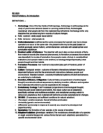 ANTH 1030 - Study Guide