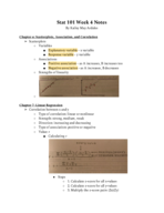 UIC - STAT 101 - Class Notes - Week 4