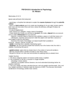 PSY 1010 - Class Notes - Week 1
