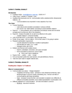 UCSB - COMM - Class Notes - Week 1