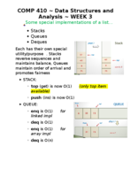 What are some special implementations of a list in data structures and analysis?