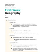 VSU - GEOG 1113 - Class Notes - Week 1