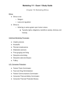Lehigh - MKT 111 - Study Guide - Midterm