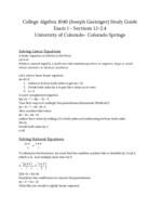 UCCS - MATH 10932 - Study Guide - Midterm