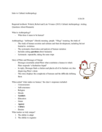 WCUPA - ANT / SOC 102 - Class Notes - Week 1