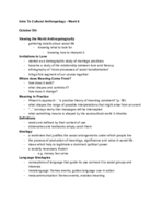 ANTH 0780 - Class Notes - Week 8